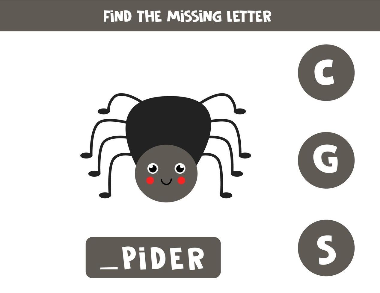 trova la lettera mancante con un ragno carino. foglio di lavoro di ortografia. vettore