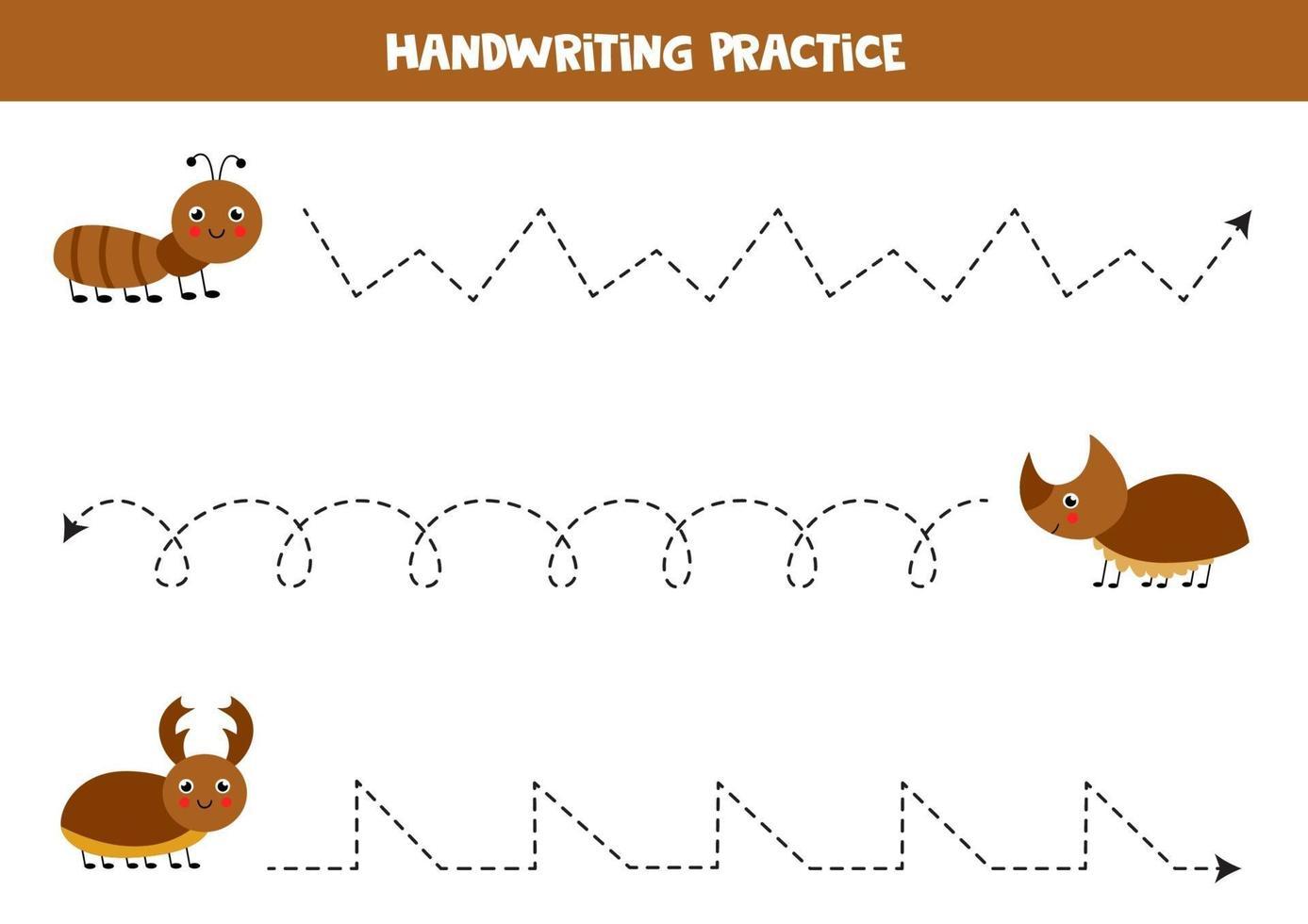 traccia le linee con insetti carini. Pratica di scrittura. vettore