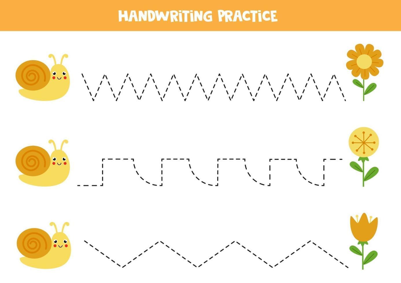 traccia le linee con simpatiche lumache e fiori. Pratica di scrittura. vettore