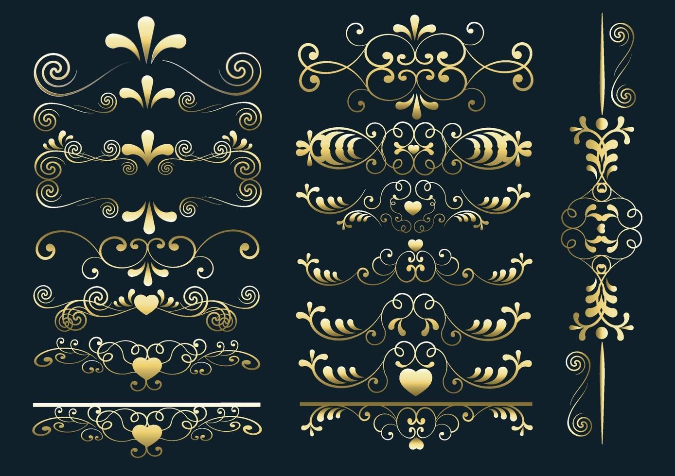 set di arabeschi di cuore vettore