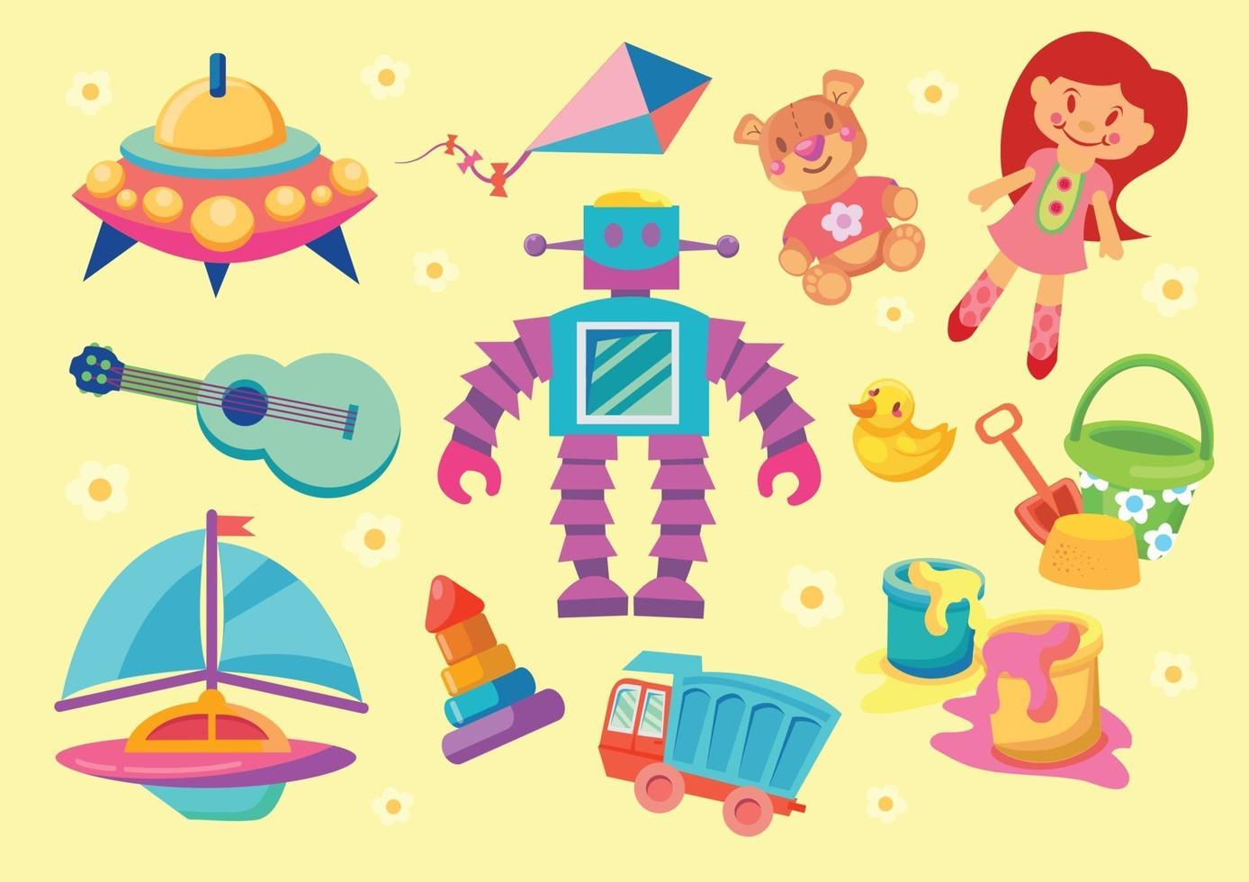 gioco per bambini e set di giocattoli vettore