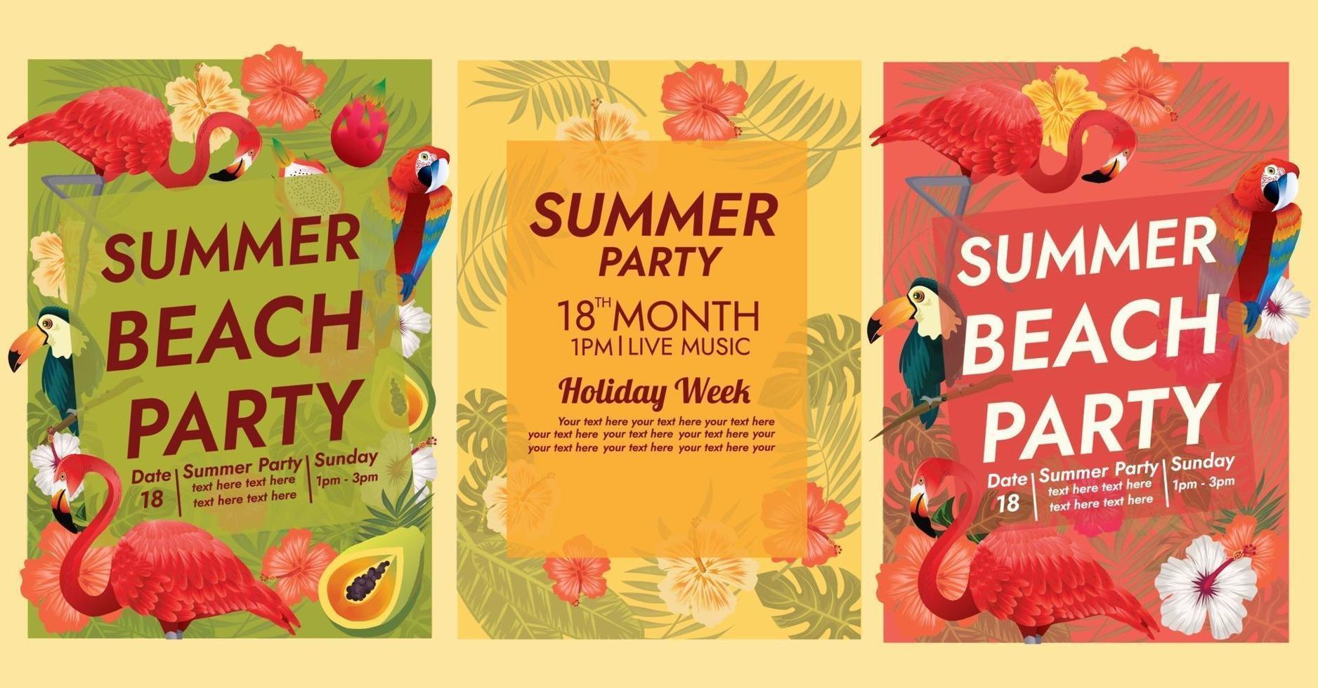 modello di poster festa tropicale isola tropicale vettore