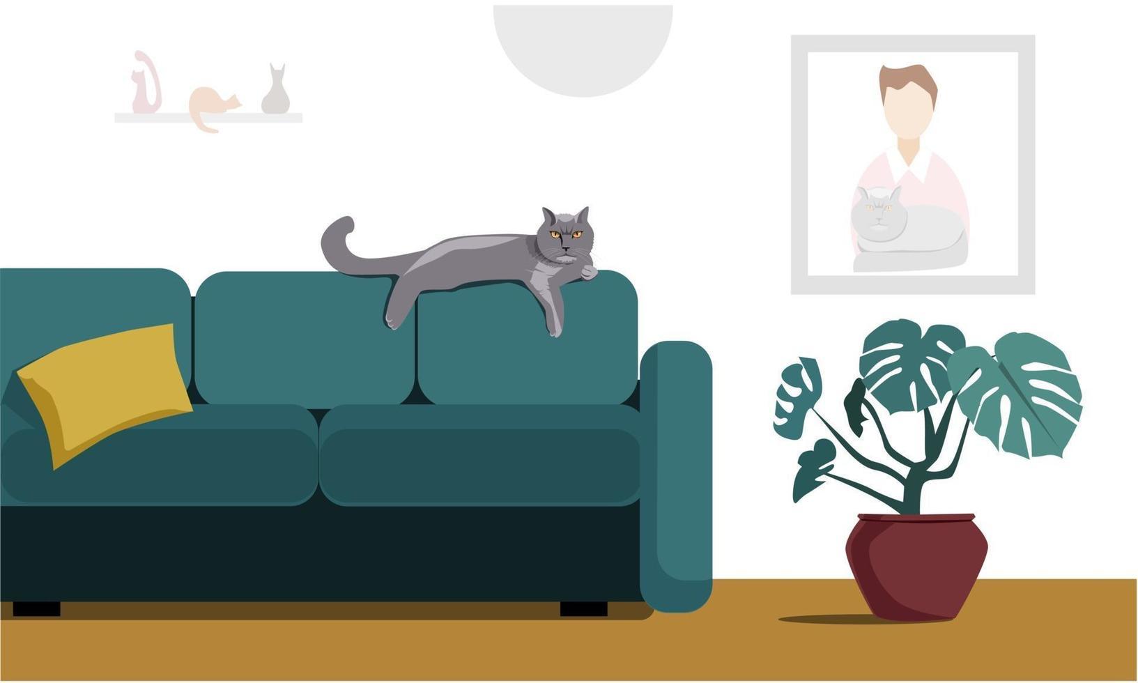 l'interno di un accogliente soggiorno con un simpatico gatto vettore