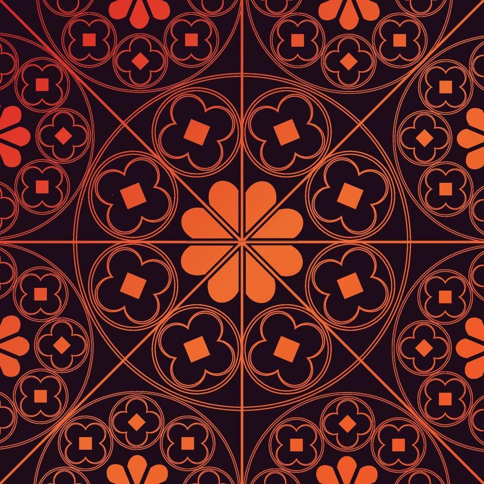 tudor rose pattern ripetuto di sfondo arancione bruciato vettore