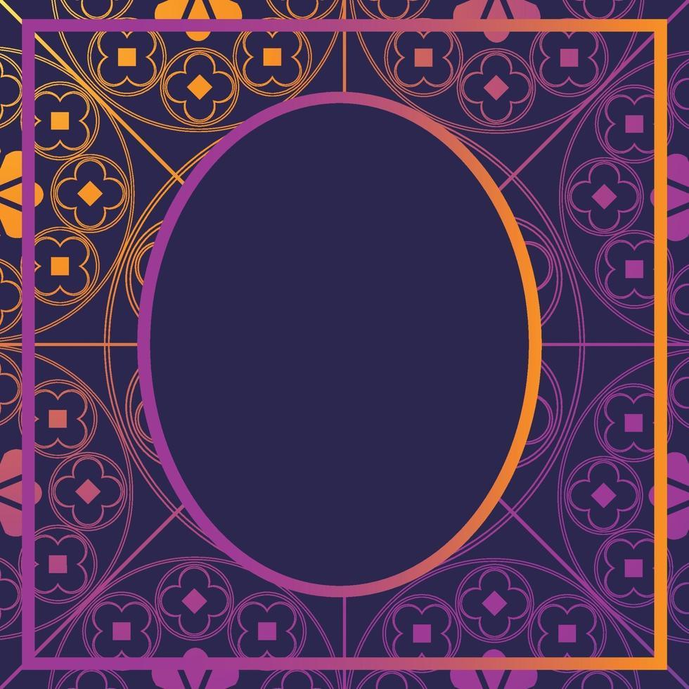 floreale modello medievale sfondo modello ovale incandescente viola vettore