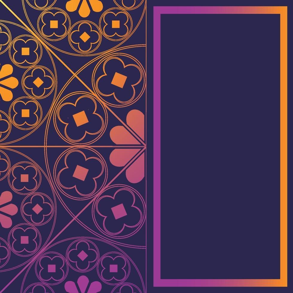 floreale modello medievale sfondo modello rettangolo viola incandescente vettore