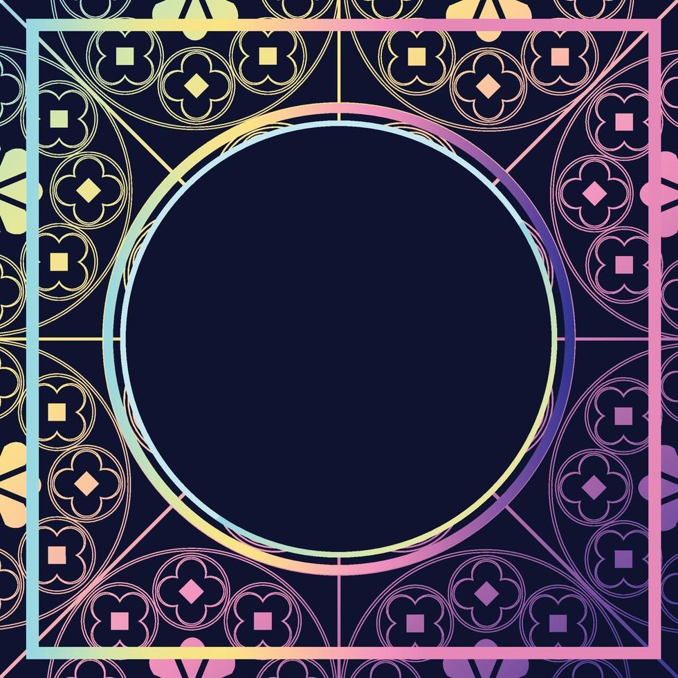 floreale modello medievale sfondo modello cerchio viola pastelli vettore