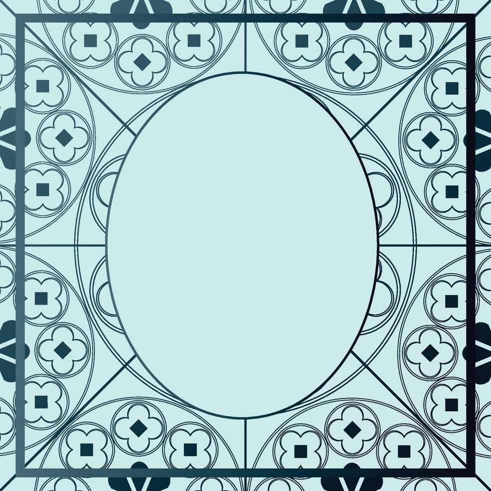 floreale modello medievale sfondo modello ovale tonalità blu vettore