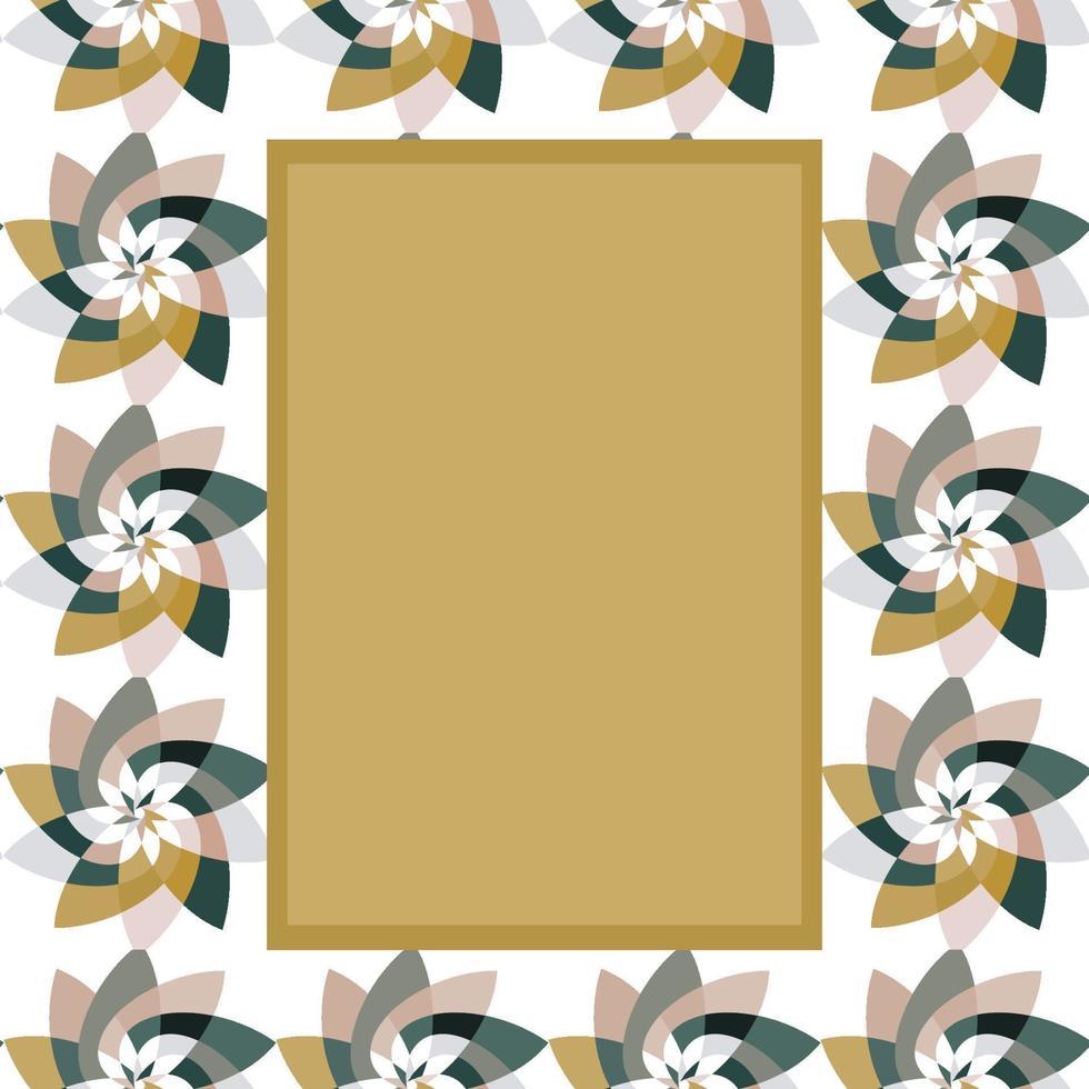 modello rettangolare fiore grafico con copia spazio grigio oro vettore