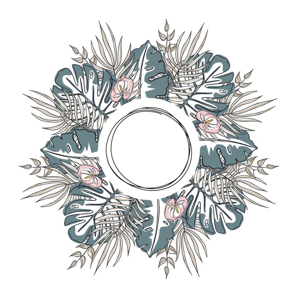 cornice circolare di foglie tropicali. ghirlanda esotica di fronde dai colori delicati. illustrazione vettoriale di una linea stile arte. modello per cartoline, inviti, decorazioni.
