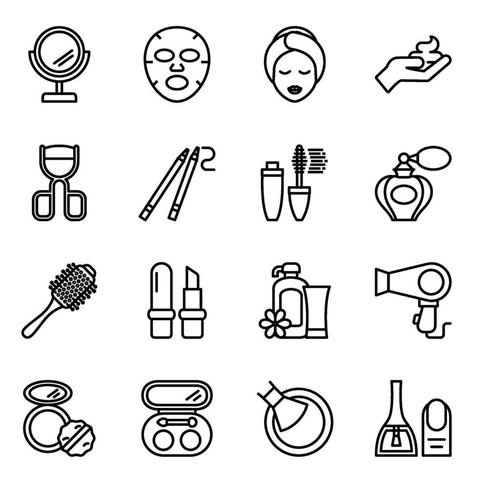 set di icone di linea di bellezza e cosmetici vettore
