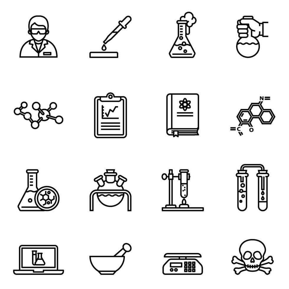 immagine vettoriale set di icone relative chimica e laboratorio