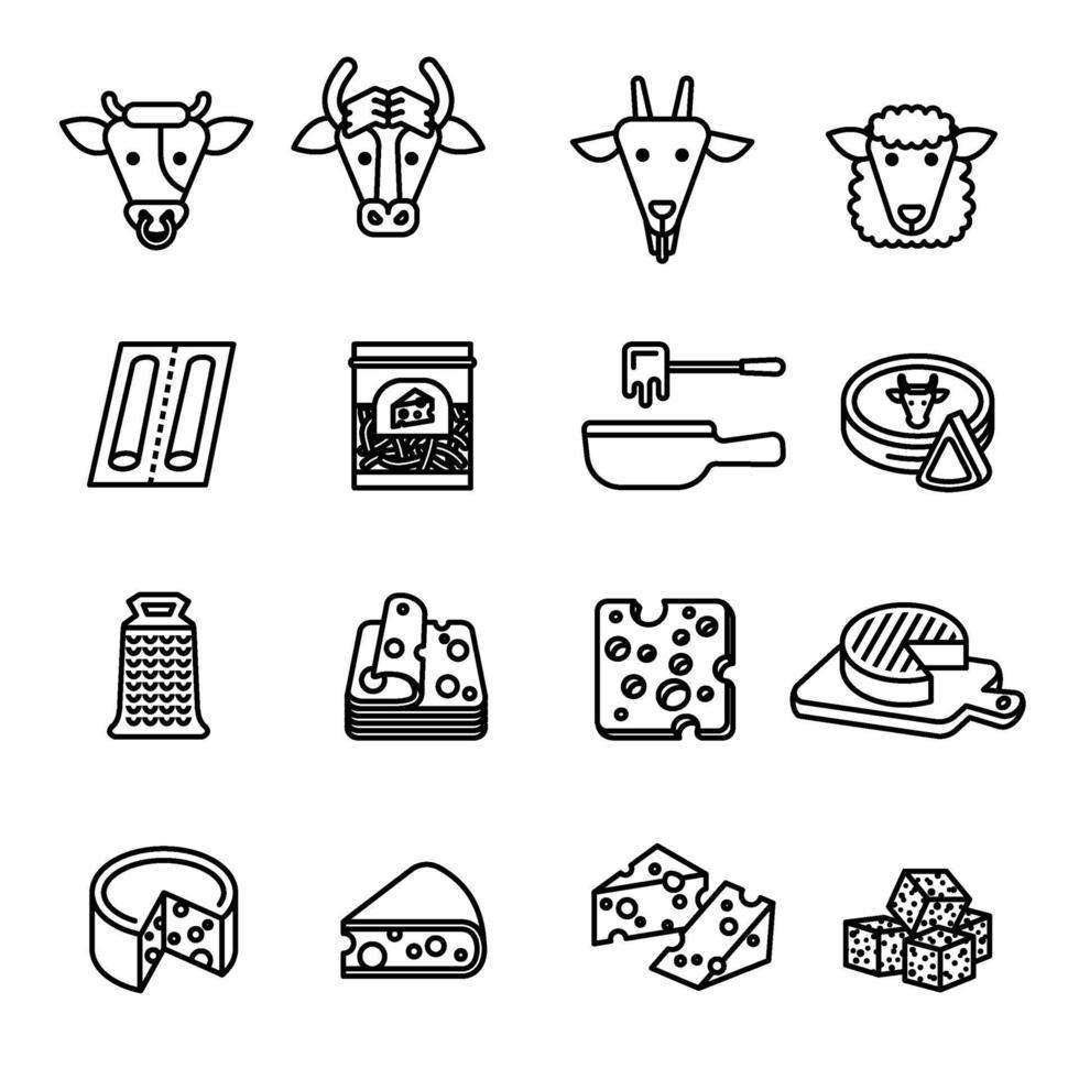 set di icone di formaggio immagine vettoriale impostata.