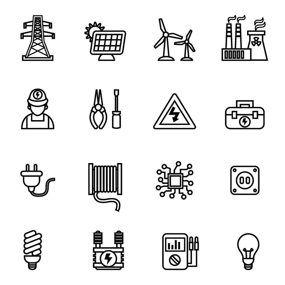 icona di energia elettrica ed energia imposta immagine vettoriale. vettore