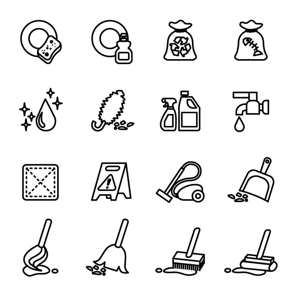icona di pulizia impostata con immagine vettoriale sfondo bianco.