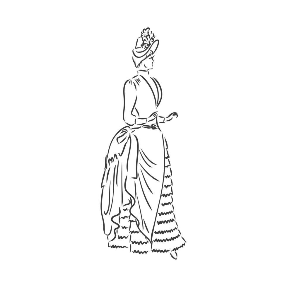 antica signora vestita. vecchia illustrazione vettoriale di moda. donna vittoriana in abito storico. disegno stilizzato vintage, stile retrò xilografia. abito retrò, disegno vettoriale su sfondo bianco