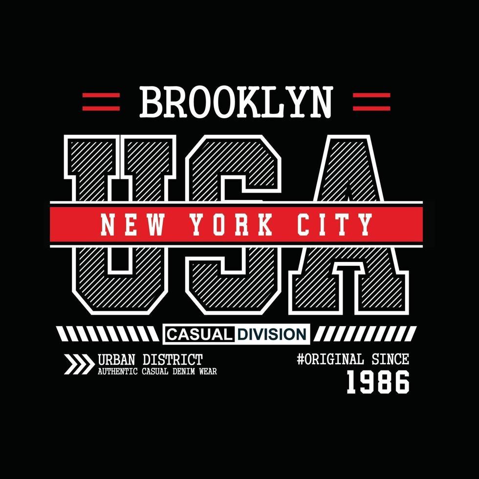 design tipografico di abbigliamento urbano originale di brooklyn usa vettore