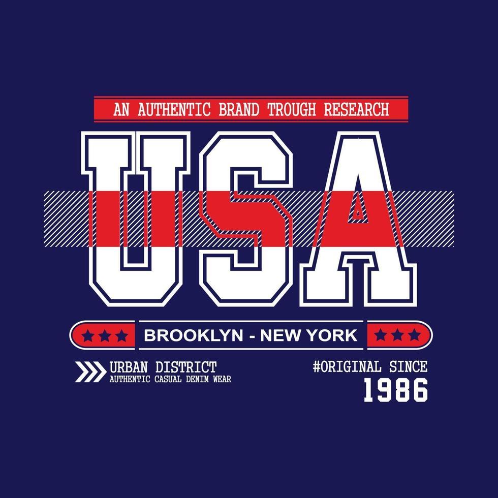 design tipografico di abbigliamento urbano usa new york city vettore