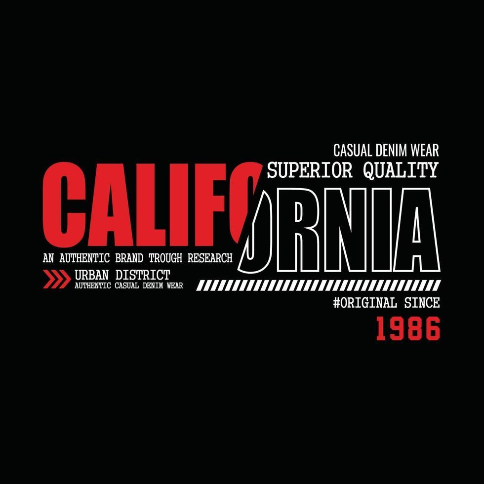design t-shirt tipografia denim usa california vettore