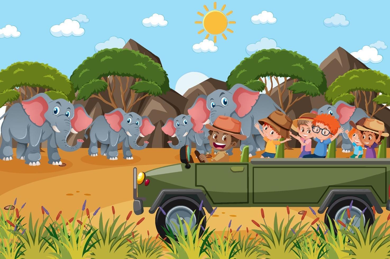bambini in automobile turistica guardando il gruppo di elefanti nella scena dello zoo vettore