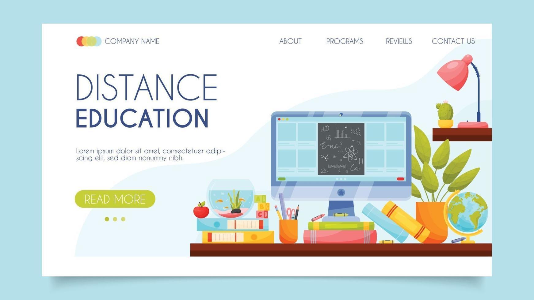 Educazione a distanza. concetto di pagina di destinazione. design piatto, illustrazione vettoriale. vettore