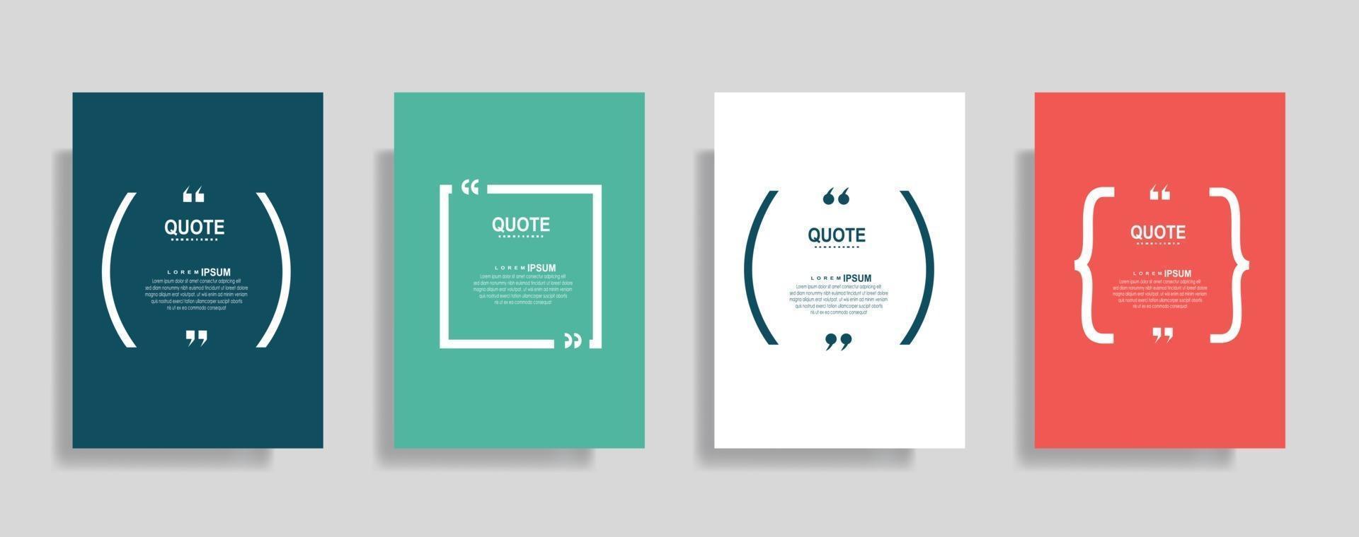 citazioni cornice modelli vuoti impostati. testo tra parentesi, citazione fumetti vuoti. casella di testo isolato su sfondo di colore vettore