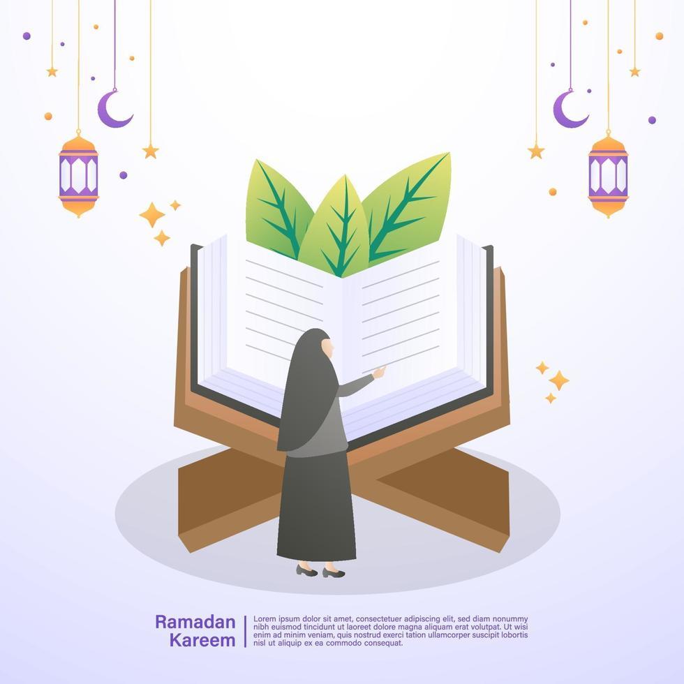 la donna musulmana legge il Corano nel mese di Ramadan. illustrazione concetto di ramadan kareem vettore