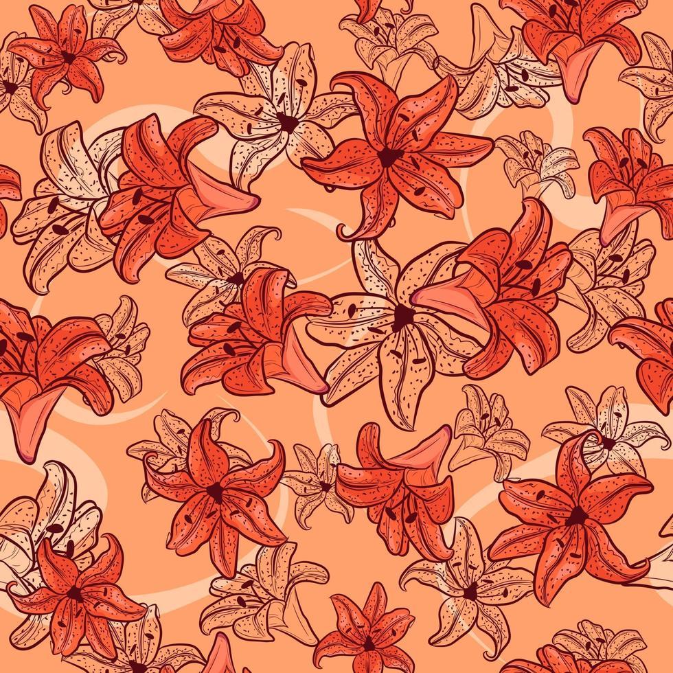 modello senza saldatura primavera con elementi floreali e schizzi. sfondo estivo ripetitivo con gigli arancioni e tulipani. consistenza naturale e botanica con fiori gialli. vettore