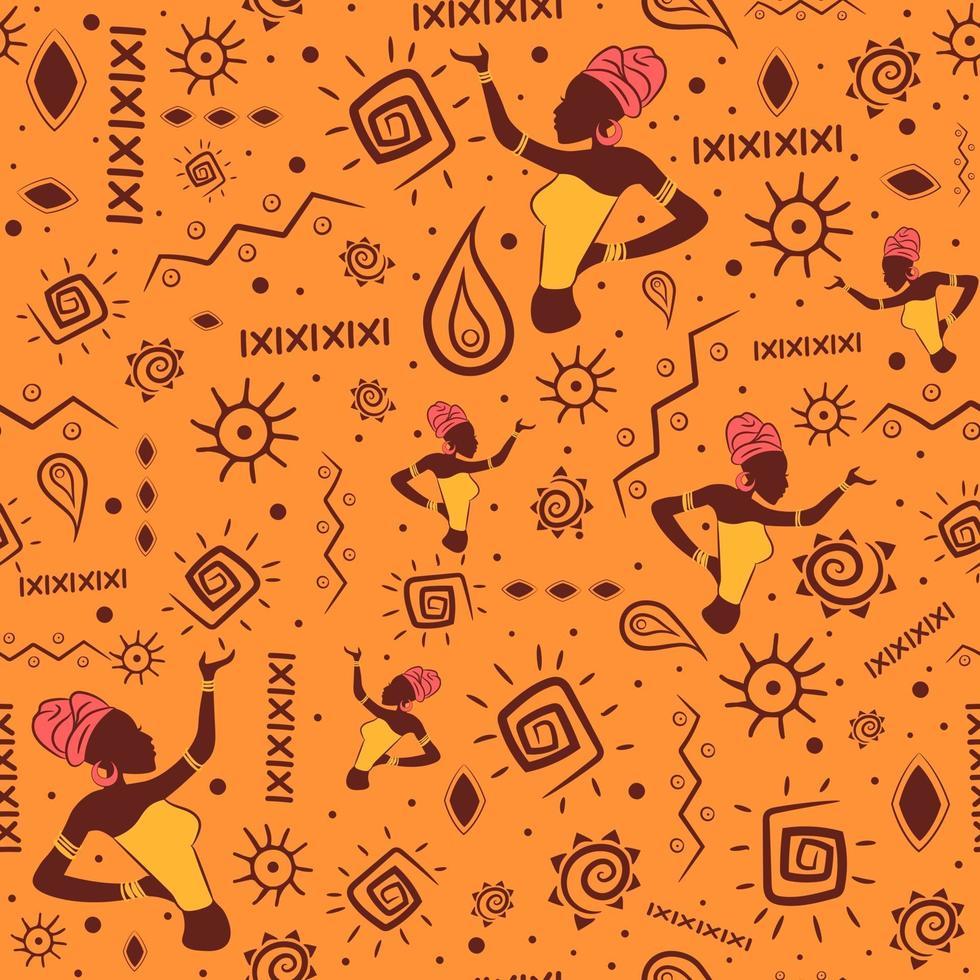 seamless africano con motivi tradizionali aztechi e maya. sfondo indiano e bohémien ripetitivo per l'estate con spirali, oggetti etnici nazionali e una donna nera che indossa un turbante. vettore