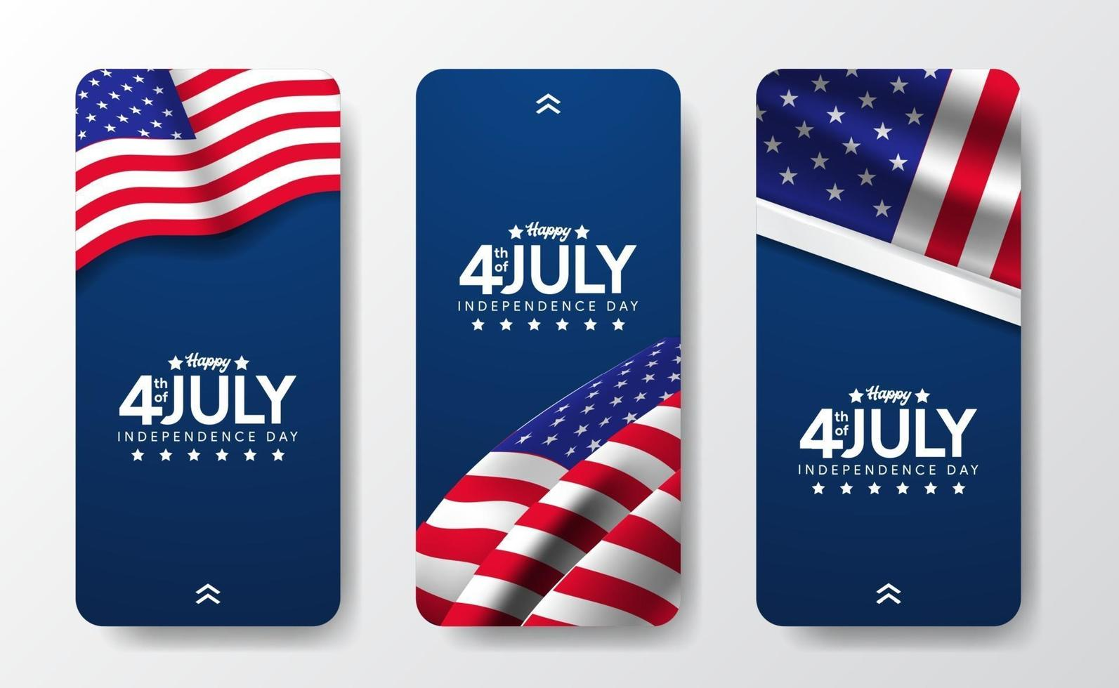 storie di modelli di social media per il 4 luglio giorno dell'indipendenza americana vettore