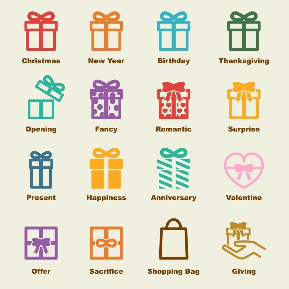 elementi vettoriali regalo