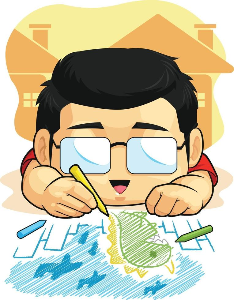 ragazzo che disegna scarabocchi illustrazione del fumetto di attività educativa del bambino vettore