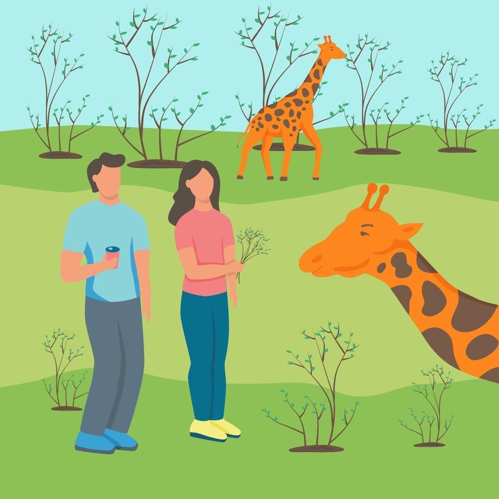 coppia allo zoo con giraffe vettore