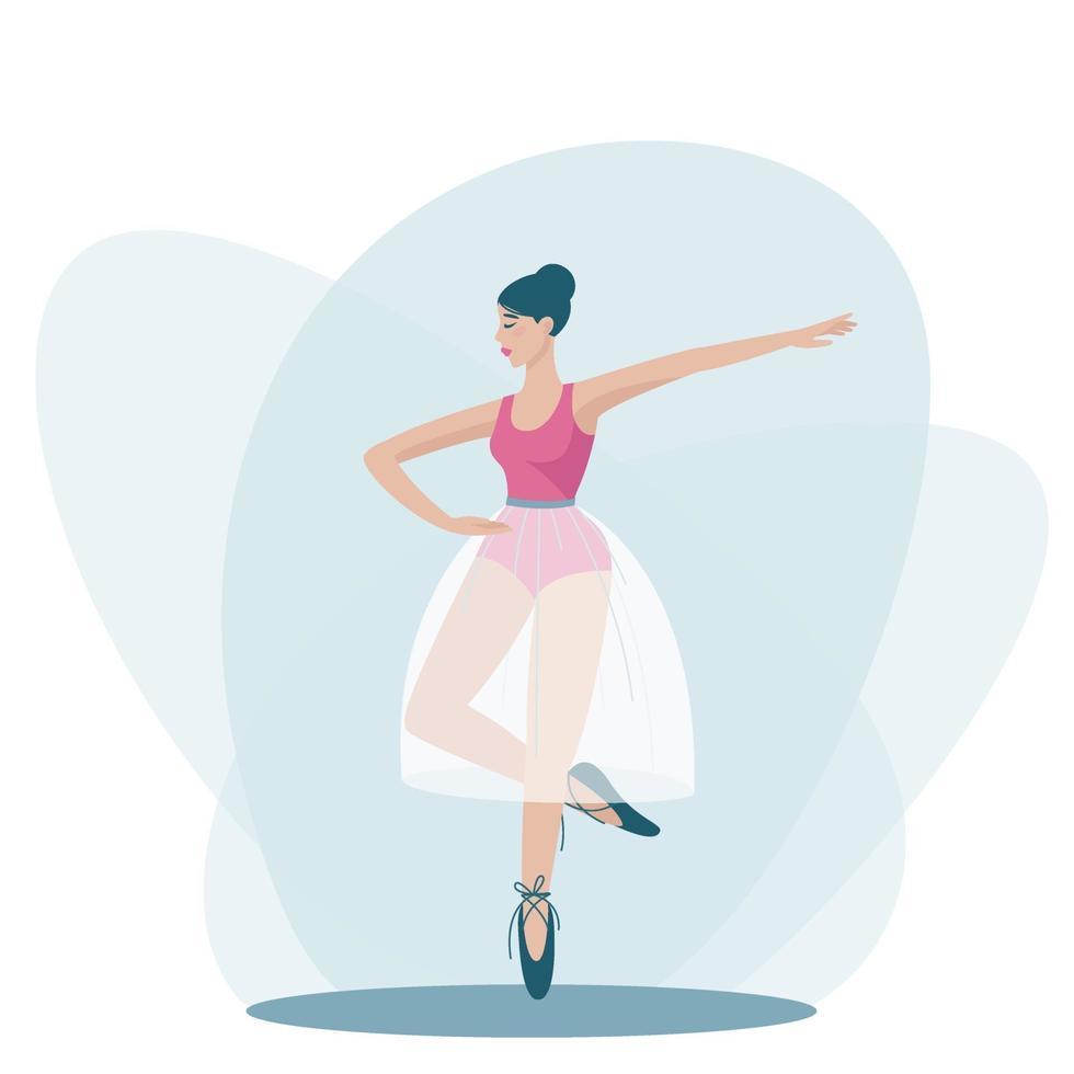 una ragazza che balla è in piedi in una bella posa su una gamba vettore