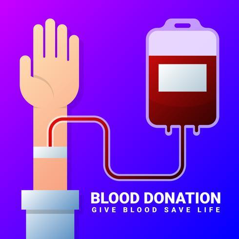 Illustrazione piana di trasfusione del donatore di sangue vettore