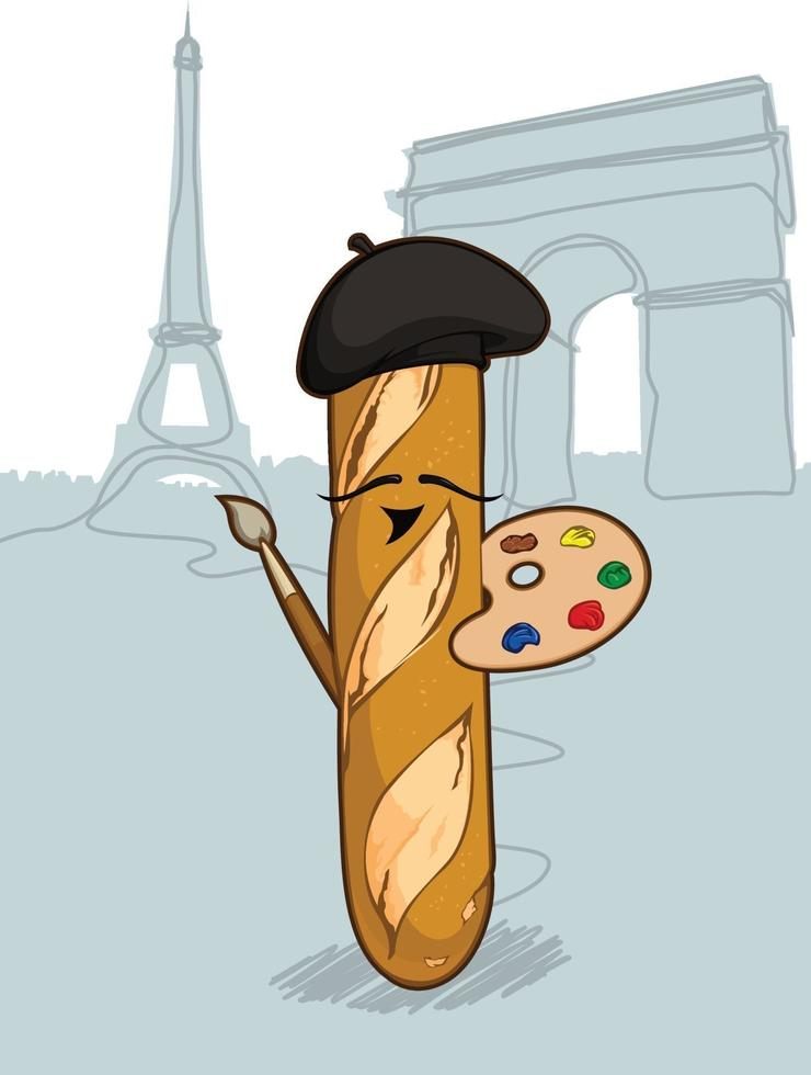 Baguette francese rotolo di pane cibo fumetto illustrazione vettoriale disegno