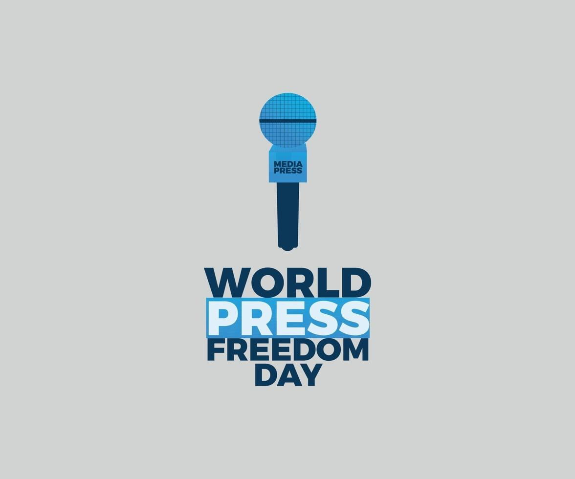 progettazione grafica vettoriale giornata mondiale della libertà di stampa con microfono blu