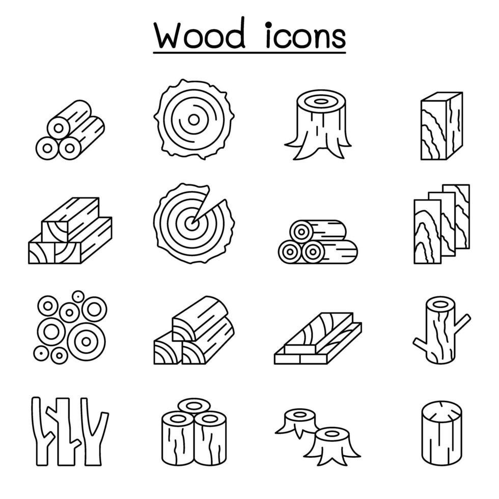 icona di legno impostata in stile linea sottile vettore