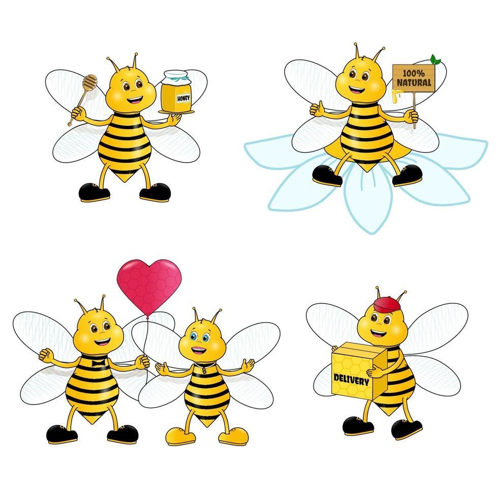 cartone animato carino ape mascotte set. ape del miele che tiene un mestolo di miele, che indossa il berretto, consegna un pacchetto di miele biologico prodotto naturale, coppia innamorata. caratteri vettoriali. vettore