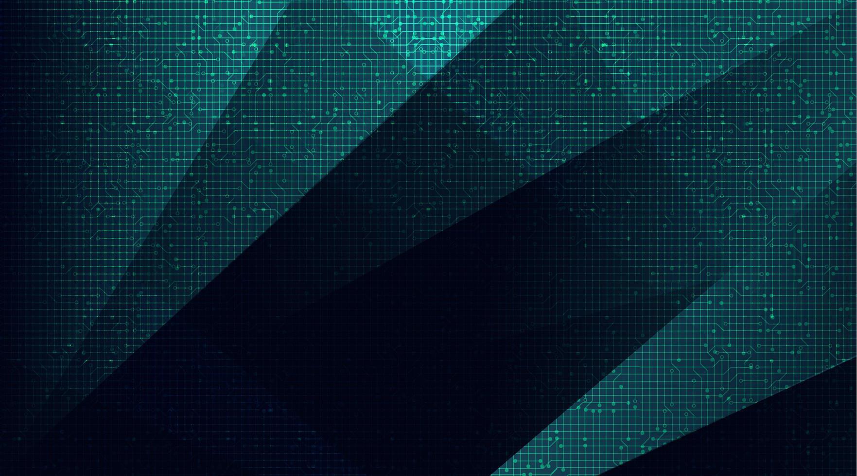microchip del circuito verde su sfondo tecnologico, design digitale hi-tech e concetto di sicurezza, spazio libero per il testo vettore