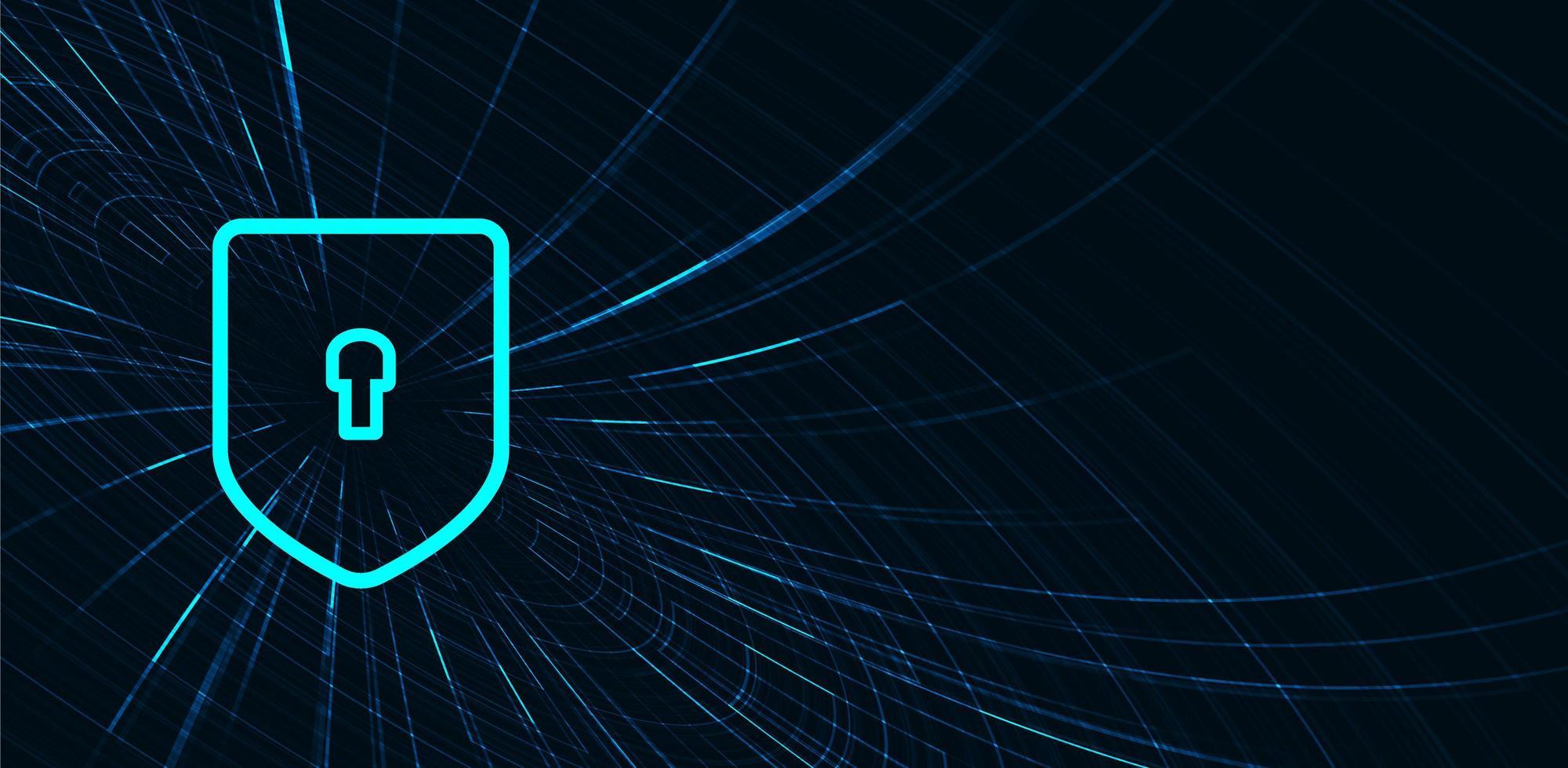 blu tecnologia digitale scudo sicurezza, protezione e concetto di connessione sfondo design vettore