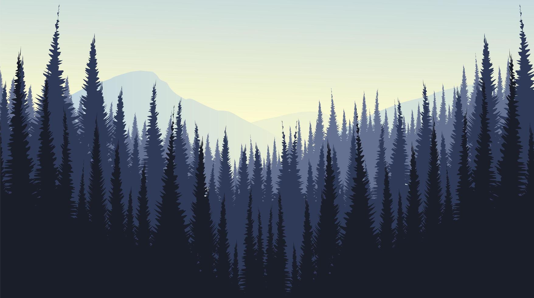 vettore paesaggio di montagna con pineta, nebbia e nebbia concept design.