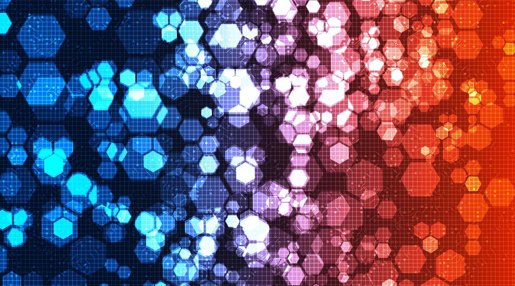 sfondo colorato tecnologia poligono circuito hi-tech design digitale e sicurezza vettore