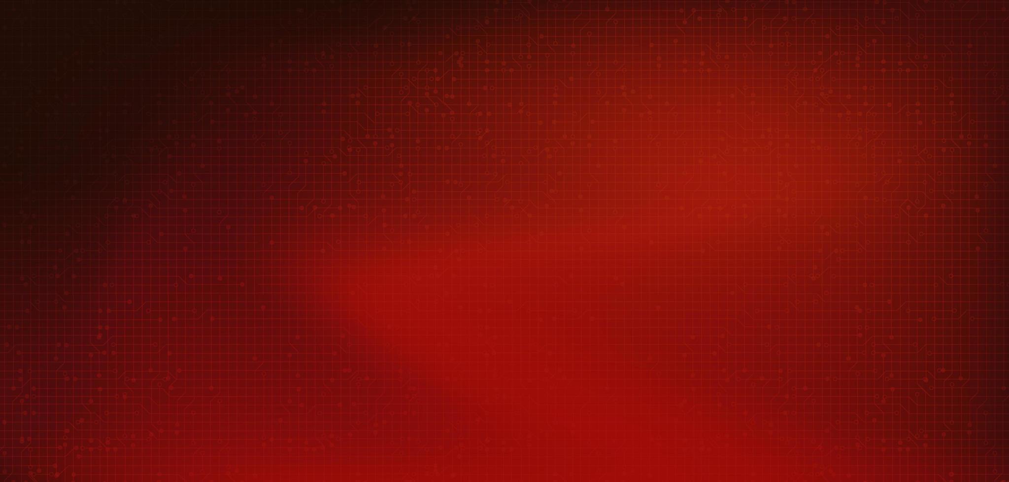 tecnologia del microchip del circuito rosso su sfondo futuro, design digitale hi-tech e velocità vettore