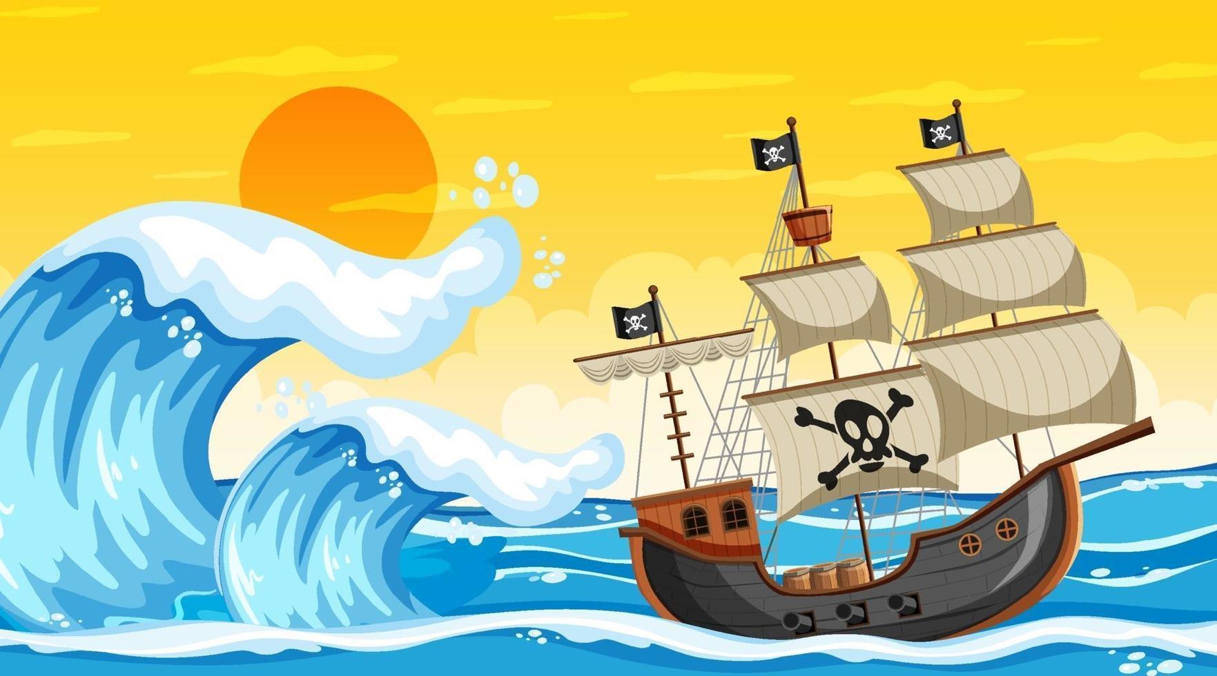 scena dell'oceano al tramonto con la nave pirata in stile cartone animato vettore