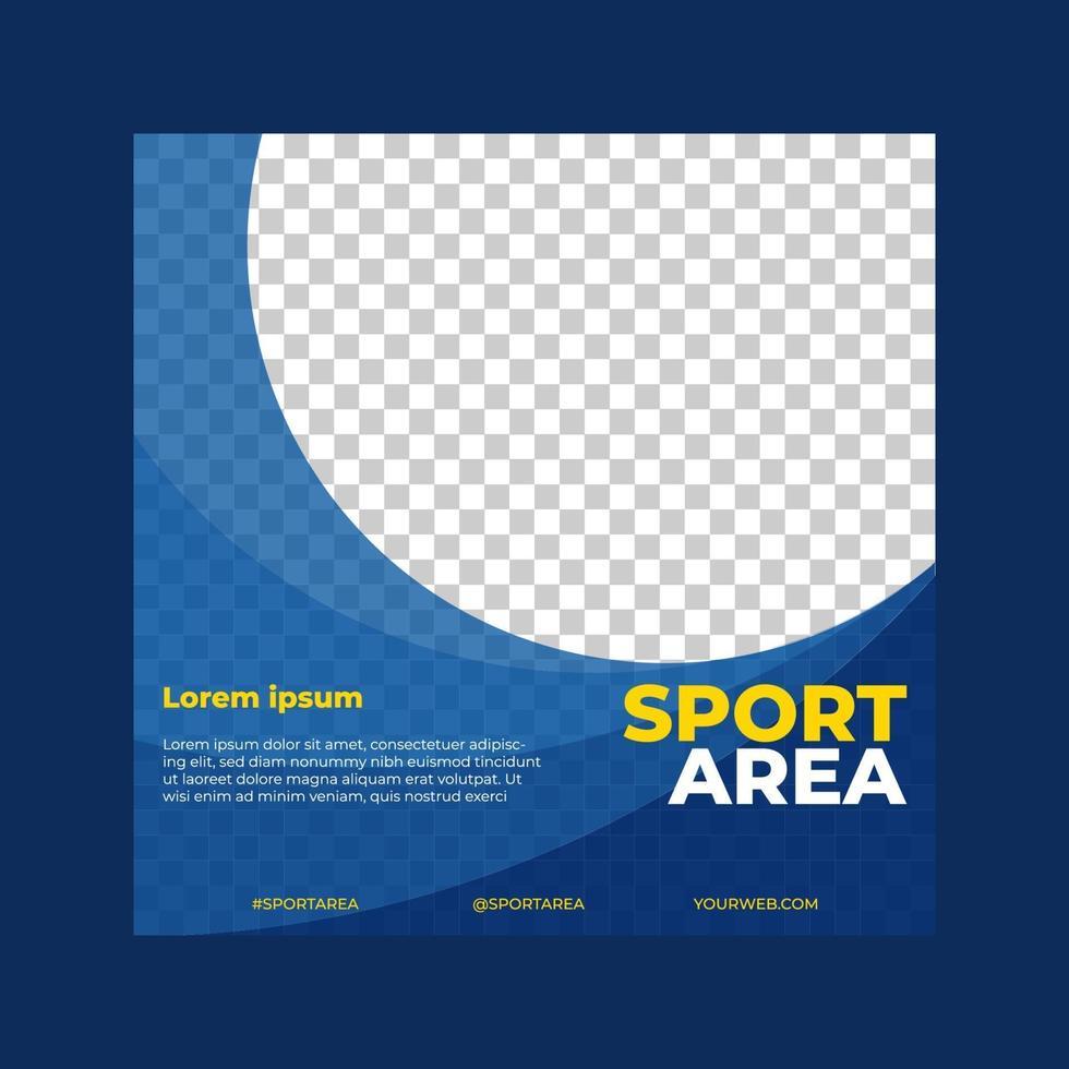 banner sportivo quadrato per il design del modello di post sui social media, ottimo per il tuo vettore di promozione online
