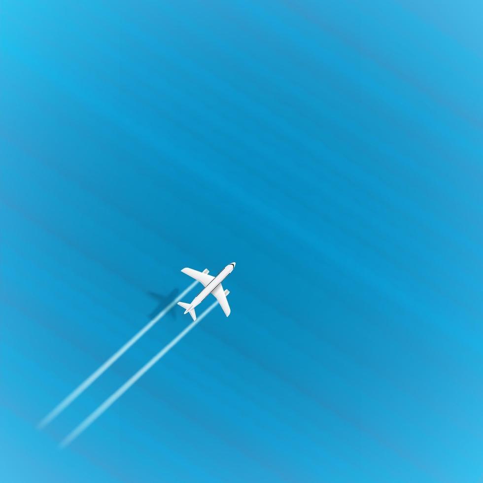 volo in aereo di linea sopra il mare blu alla massima velocità. aereo con tracce di turbine e ombra. modello per la progettazione con copyspace vettore