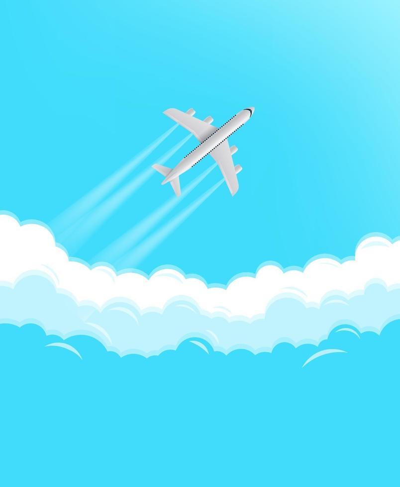 aerei moderni che volano in un cielo. concetto di viaggio vettore