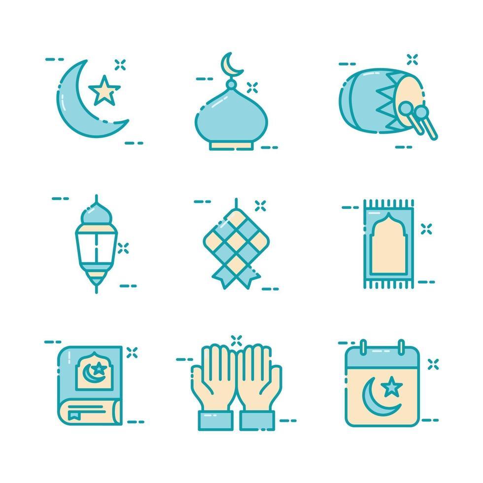 collezione di icone islamiche eid mubarak vettore