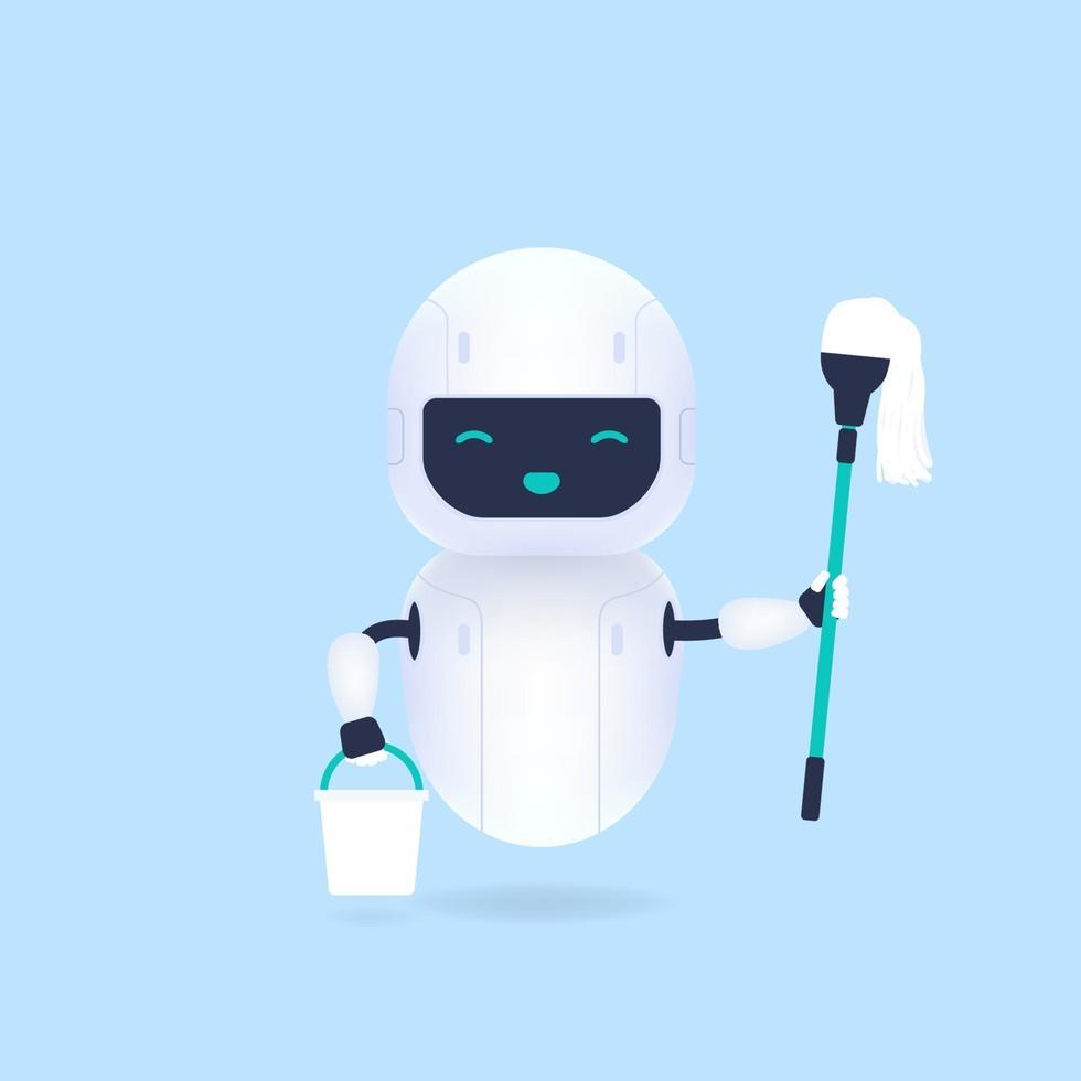 robot pulitore bianco amichevole con scopa e secchio. vettore